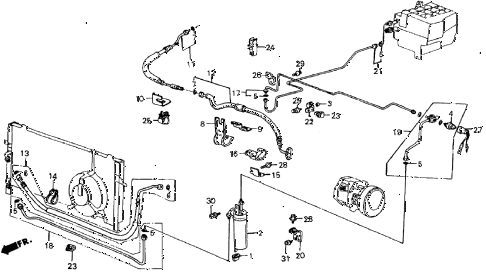 1986 crx DX 2 DOOR 4AT A/C HOSES - PIPES (KEIHIN) diagram