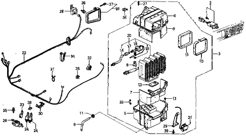1987 crx SI 2 DOOR 5MT A/C UNIT (SANDEN) diagram