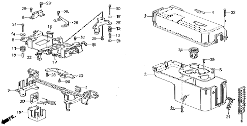 1987 civic GL 4 DOOR 5MT CONTROL BOX COVER (1) diagram