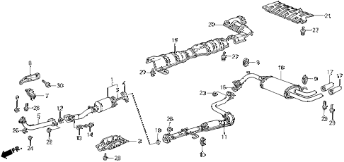 1986 civic SI(1500) 3 DOOR 5MT EXHAUST SYSTEM (SI) diagram