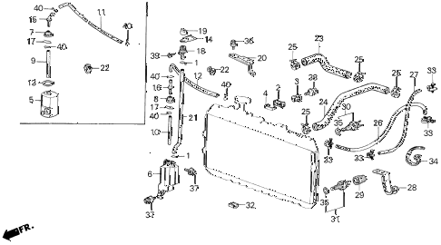 1986 civic DX(1500) 3 DOOR 5MT RADIATOR HOSE diagram