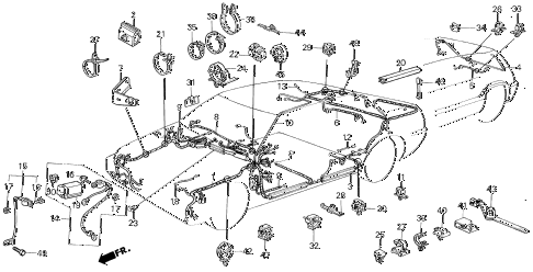1987 civic DX(1500) 3 DOOR 5MT WIRE HARNESS diagram