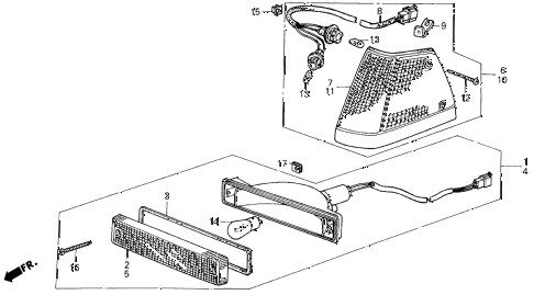 1987 civic DX(1500) 3 DOOR 5MT FRONT COMBINATION LIGHT diagram