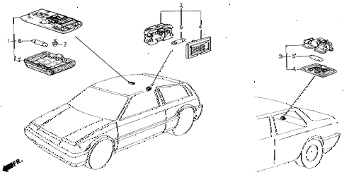 1987 civic DX(1500) 3 DOOR 5MT INTERIOR LIGHT diagram