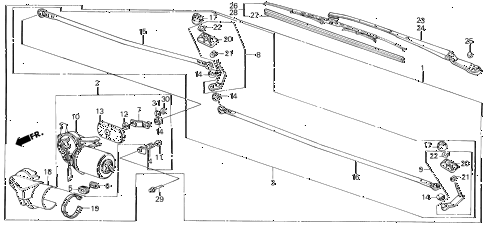 1987 civic GL 4 DOOR 5MT FRONT WINDSHIELD WIPER diagram