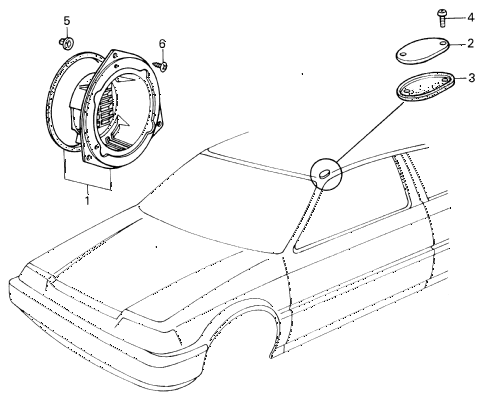 1986 civic GL 4 DOOR 5MT RADIO ANTENNA HOLE CAP diagram