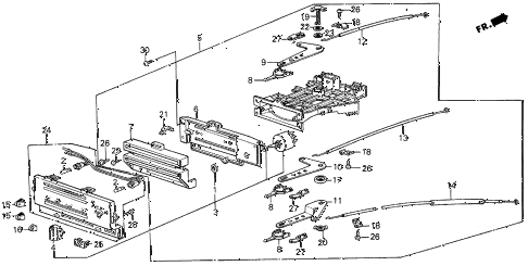 1987 civic SI(1500) 3 DOOR 5MT HEATER LEVER diagram