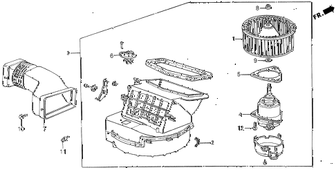 1987 civic GL 4 DOOR 5MT HEATER BLOWER diagram