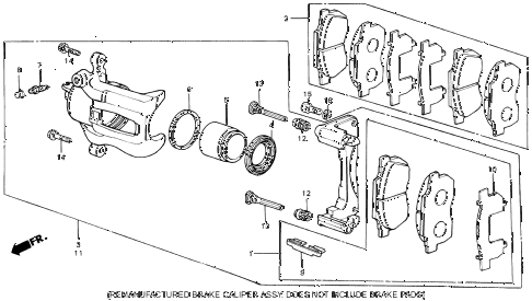 1986 civic SI(1500) 3 DOOR 5MT FRONT BRAKE CALIPER diagram