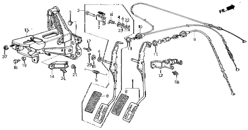 1987 civic DX(1500) 3 DOOR 5MT ACCELERATOR PEDAL diagram