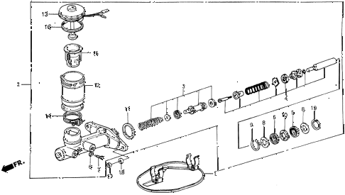 1986 civic GL 4 DOOR 5MT MASTER CYLINDER diagram
