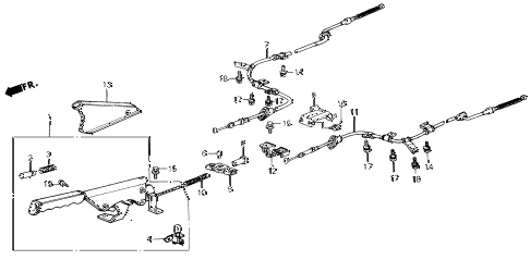 1986 civic DX(1500) 3 DOOR 5MT PARKING BRAKE diagram
