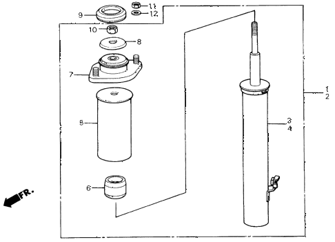 1987 civic GL 4 DOOR 5MT FRONT SHOCK ABSORBER diagram