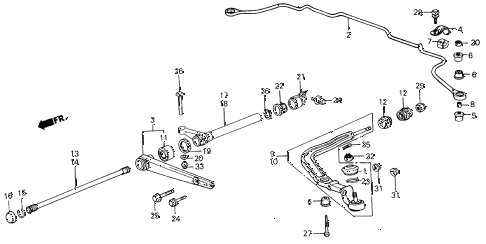 1987 civic GL 4 DOOR 5MT FRONT LOWER ARM diagram