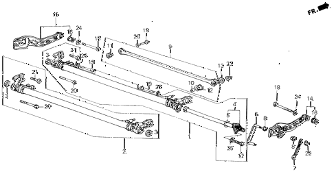 1986 civic GL 4 DOOR 5MT REAR AXLE BEAM diagram