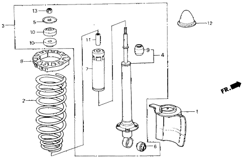 1987 civic GL 4 DOOR 5MT REAR SHOCK ABSORBER diagram