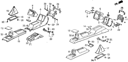 1986 civic GL 4 DOOR 5MT CENTER CONSOLE diagram