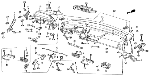 1986 civic **(1300) 3 DOOR 4MT INSTRUMENT PANEL diagram