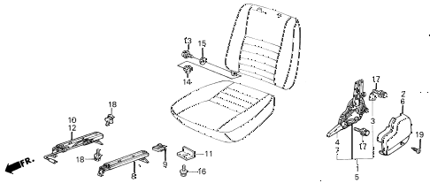 1987 civic GL 4 DOOR 5MT FRONT SEAT COMPONENTS diagram