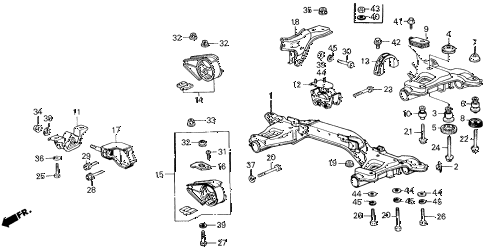 1986 civic GL 4 DOOR 5MT ENGINE MOUNT diagram