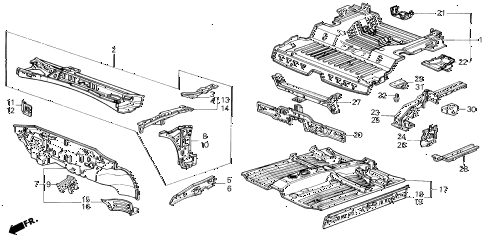 1986 civic DX(1500) 3 DOOR 5MT DASHBOARD - FRONT FLOOR diagram