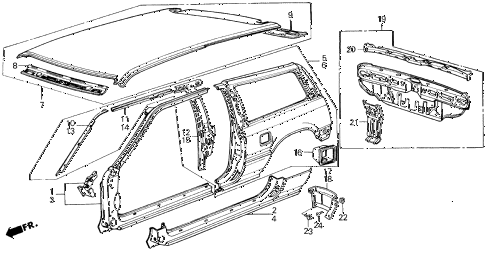 1986 civic DX(1500) 3 DOOR 5MT OUTER PANEL 3DR diagram