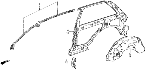 1986 civic **(1300) 3 DOOR 4MT INNER PANEL 3DR diagram