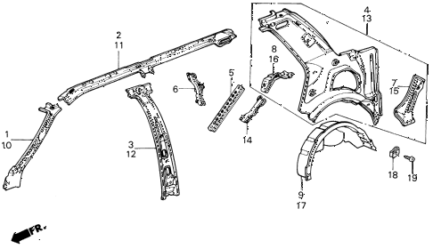 1987 civic GL 4 DOOR 5MT INNER PANEL 4DR diagram