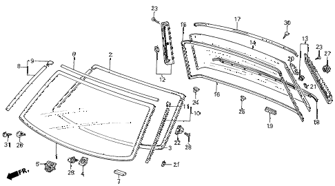 1986 civic GL 4 DOOR 5MT WINDSHIELD - REAR WINDOW diagram