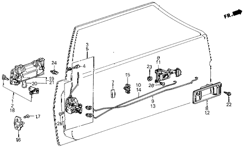 1987 civic DX(1500) 3 DOOR 5MT DOOR LOCK 3DR diagram