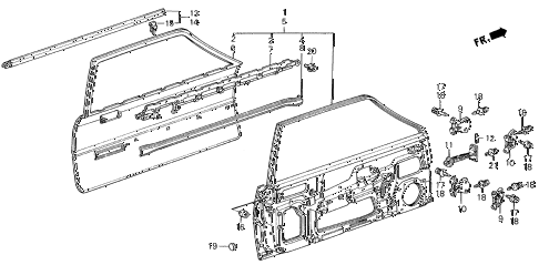 1987 civic **(1300) 3 DOOR 4MT DOOR PANEL 3DR diagram