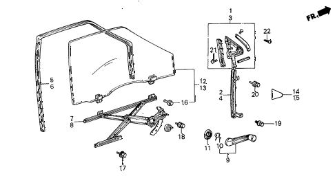 1986 civic GL 4 DOOR 5MT FRONT DOOR WINDOW 4DR diagram