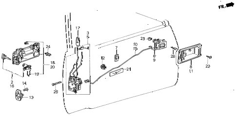 1987 civic GL 4 DOOR 5MT FRONT DOOR LOCKS 4DR diagram