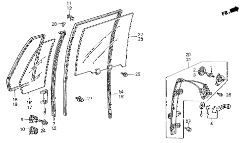 1987 civic GL 4 DOOR 5MT REAR DOOR WINDOWS 4DR diagram