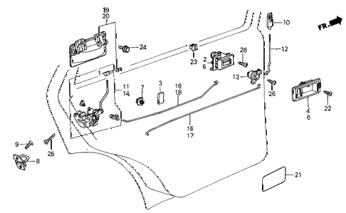 1986 civic GL 4 DOOR 5MT REAR DOOR LOCKS 4DR diagram