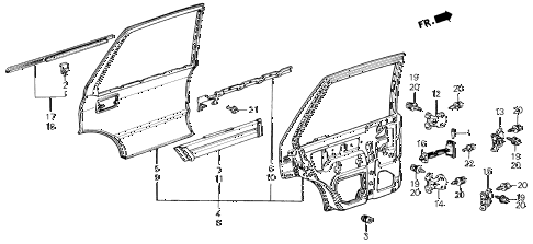 1986 civic GL 4 DOOR 5MT REAR DOOR PANELS 4DR diagram