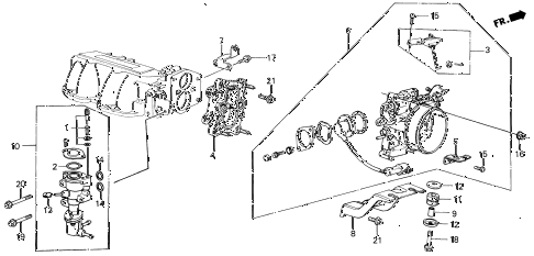 1986 civic SI(1500) 3 DOOR 5MT THROTTLE BODY (SI) diagram