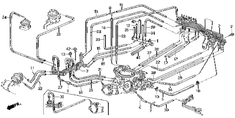 1987 civic GL 4 DOOR 5MT CARBURETOR TUBING (1) diagram