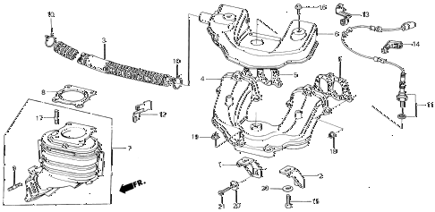 1986 civic DX(1500) 3 DOOR 5MT EXHAUST MANIFOLD (DX, S, GL) diagram