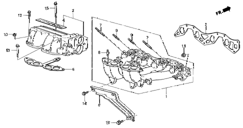 1987 civic SI(1500) 3 DOOR 5MT INTAKE MANIFOLD (SI) diagram