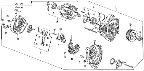 1987 civic **(1300) 3 DOOR 4MT ALTERNATOR diagram