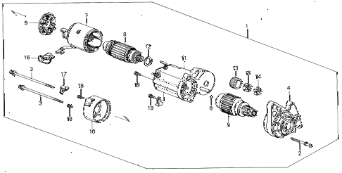1987 civic DX(1500) 3 DOOR 5MT STARTER MOTOR (DENSO) (1.0KW) diagram