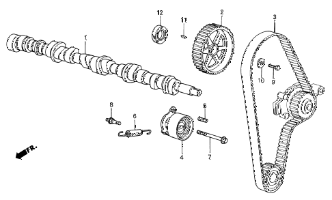1985 civic DX(1500) 3 DOOR 3AT CAMSHAFT - TIMING BELT diagram