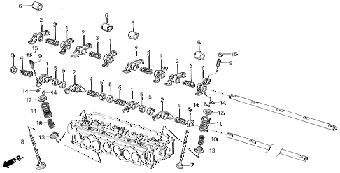 1986 civic DX(1500) 3 DOOR 5MT VALVE - ROCKER ARM diagram