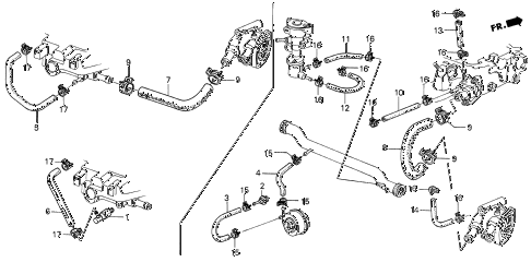 1987 civic GL 4 DOOR 5MT WATER HOSE - TUBE CLIP diagram