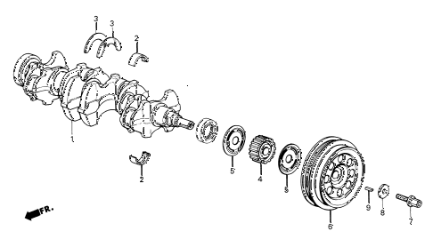 1986 civic GL 4 DOOR 5MT CRANKSHAFT diagram