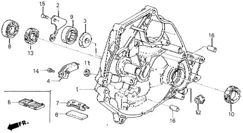 1987 civic SI(1500) 3 DOOR 5MT MT CLUTCH HOUSING diagram