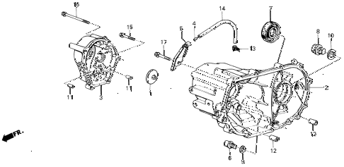 1987 civic GL 4 DOOR 5MT MT TRANSMISSION HOUSING diagram