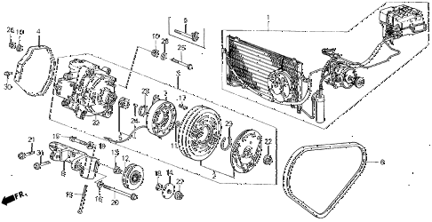 1986 civic **(1300) 3 DOOR 4MT A/C COMPRESSOR (KEIHIN) diagram