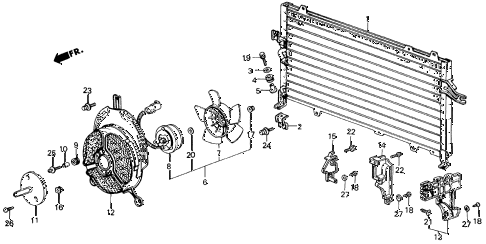 1987 civic SI(1500) 3 DOOR 5MT A/C CONDENSER (KEIHIN) diagram